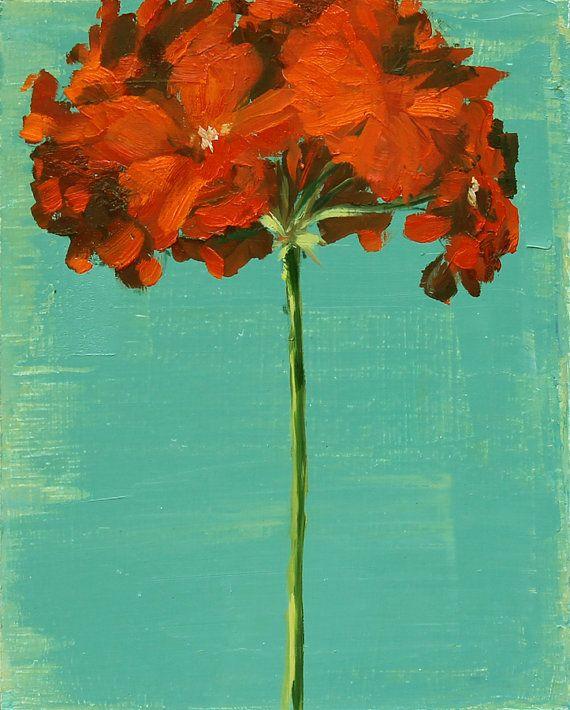 Original Oil, Geranium Flower Still Life Painting on Wood H. Oomen