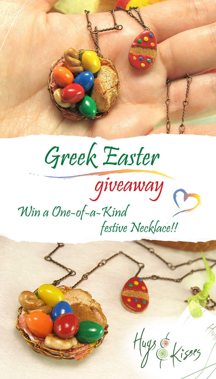Greek Easter Giveaway! ♥ Get the chance to win an OOAK festive Necklace!! ;-D   WIN more than 5 ENTRIES here ► https://www.facebook.com/pages/Hugs-Kisses-mini/493026320725219?sk=app_228910107186452