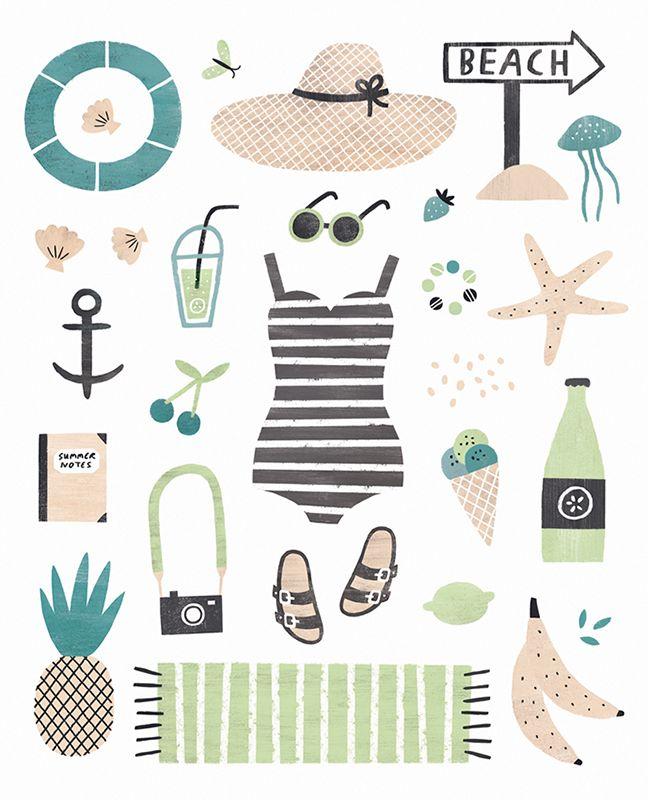 illustration, summer, beach, design, illustration, collection, colour                                                                                                                                                                                 More
