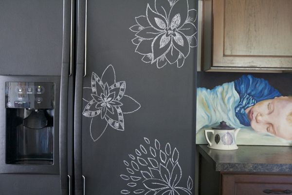 tut for painting the fridge with blackboard paint.  our fridge is looking very scratched and tired...