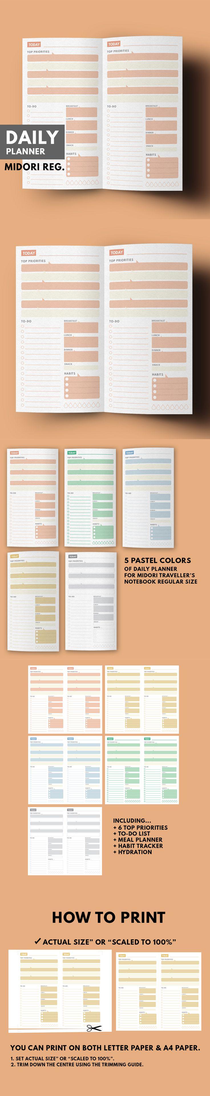 Midori Daily Planner Printable, Midori Insert, Daily Insert Midori, Midori…