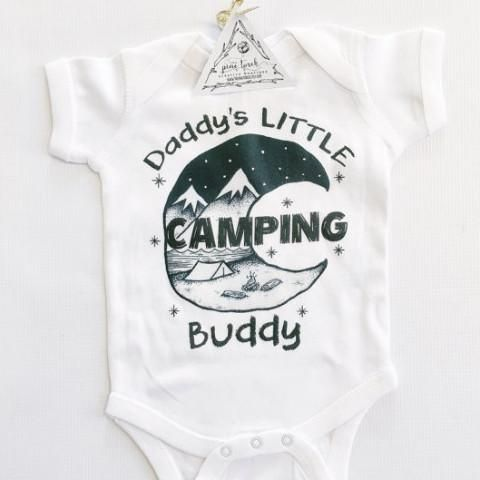 « DADDY'S LITTLE CAMPING BUDDY » BODYSUIT. The Pine Torch. Camping baby onesie, camp first birthday theme, woodlands baby birthday