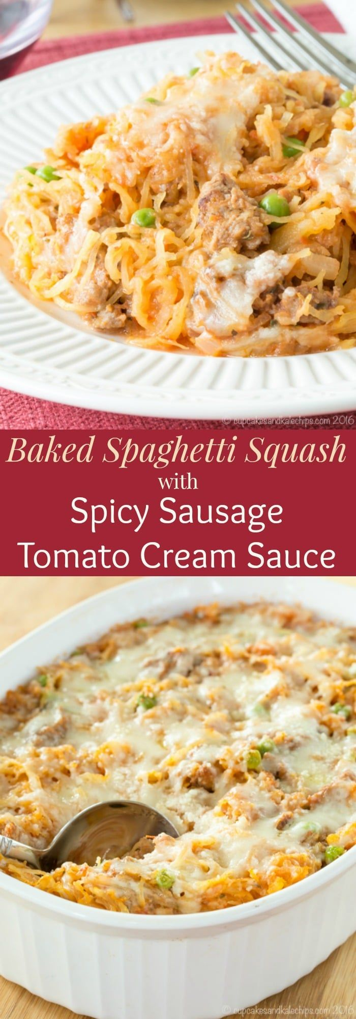 Baked Spaghetti Squash with Spicy Sausage Tomato Cream Sauce - a healthy, gluten free, low carb comfort food that's just as creamy, cheesy, and delicious as any pasta casserole recipe. #spaghettisquash #glutenfree #lowcarb via @cupcakekalechip