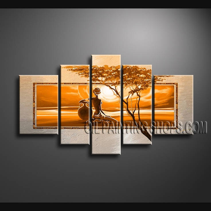 Enchanting Contemporary Wall Art Oil Painting On Canvas For Bed Room Africa Landscape. This 5 panels canvas wall art is hand painted by Bo Yi Art Studio, instock - $172. To see more, visit OilPaintingShops.com