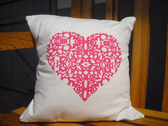 HEART PILLOW set of four color cotton covers 14 by texturasurbanas, $54.00