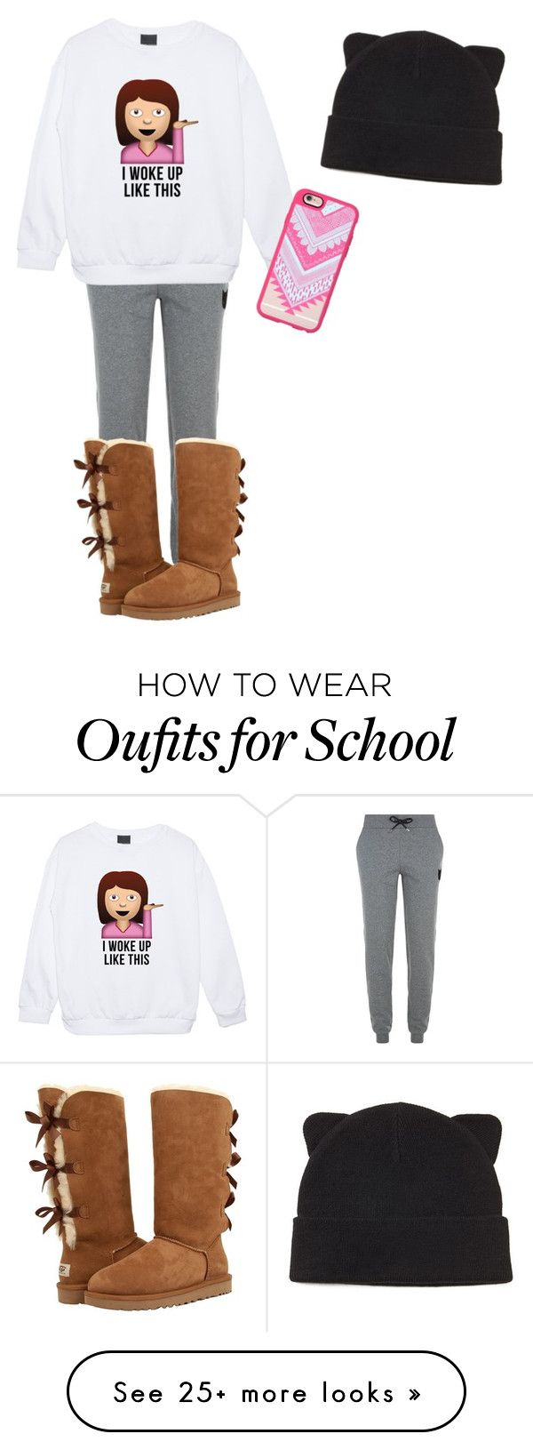 """""""No school"""" by warriorcatz1130 on Polyvore featuring Karl Lagerfeld, UGG Australia, Casetify and Forever 21"""