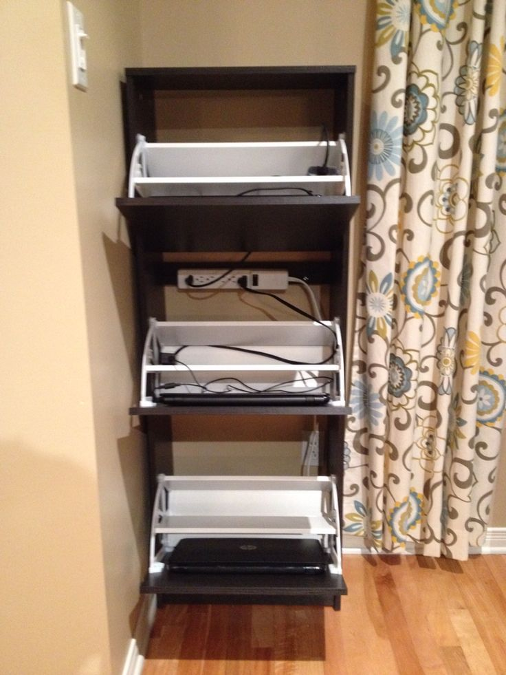 Turn an IKEA shoe cabinet into a laptop storage/ charging station!                                                                                                                                                      More