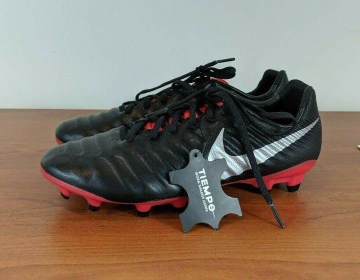 Nike Tiempo Legend 7 Pro Fg Size 7 5 Men S Black Red Silver Colorway The Cleats Are In New Condition Original Box Not I Nike Cleats Cleats Sport Shoes