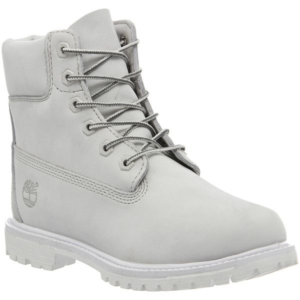 Timberland Premium 6 Boots ($245) ❤ liked on Polyvore featuring shoes, boots, ankle booties, ankle boots, white mono nubuck, women, white bootie, lace up boots, white ankle boots and short boots