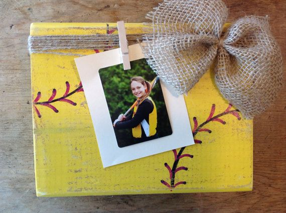 9x7 Hand Painted, distressed, softball block photo frame. Perfect for your little ballers softball pics. The frame in the display photo is