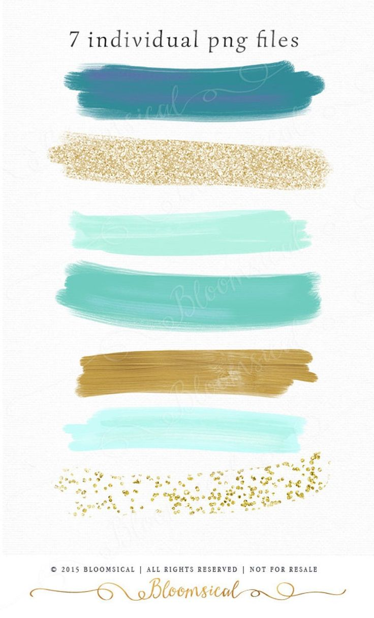 Download Brush Strokes Clip Art | Hand Painted Mint Gold Glitter Acrylic Graphic Elements | Digital ...