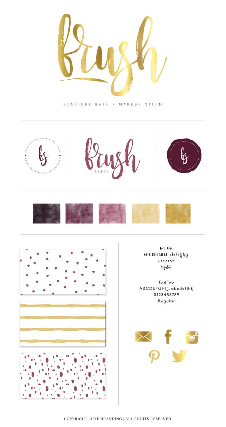 PRE-DESIGN Brush Calligraphy Logo Branding Package by LuxeBranding.  Brush Logo.  Modern Logo.  Custom Fitted Logo. Purple and gold branding.  Logo branding.  Logo brand board.