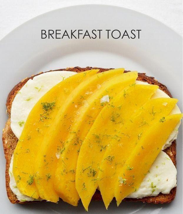 21 вариант приготовления необычных тостов на завтрак   Ломтики манго + моцарелла + сок лайма + морская соль