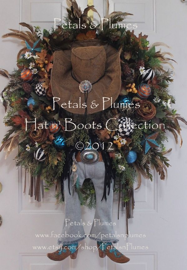 Western Wreath CoWgIrL DiVa -  Fall Wreath - MADE TO ORDER Item- Halloween Wreath - Christmas Wreath - All Year Round Display. $459.00, via Etsy.