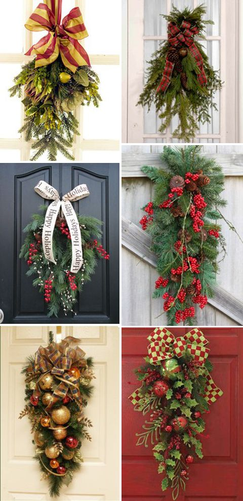 Christmas door swags. Every year I have my husband save me the pieces from when he trims our Christmas Tree. Every year I say I'm using them to make a swag.....but never do! This year, I promise I will!