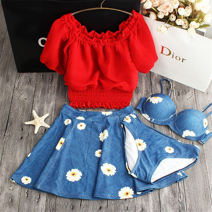 Cheap swimsuit swimsuit, Buy Quality swimsuit floral directly from China swimsuit girls Suppliers: STAR MENG 2016 new girls blouse print floral cowboy swimwear chest gather steel support insert bikinis four Piece swimsuit