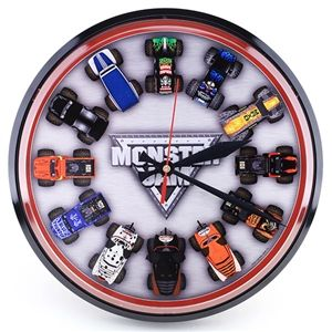 Clock Featuring The Monster Jam Logo And Various Trucks.