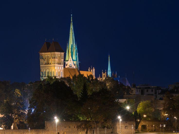 Польша. Ночной вид на город Торунь со стороны реки Висла.