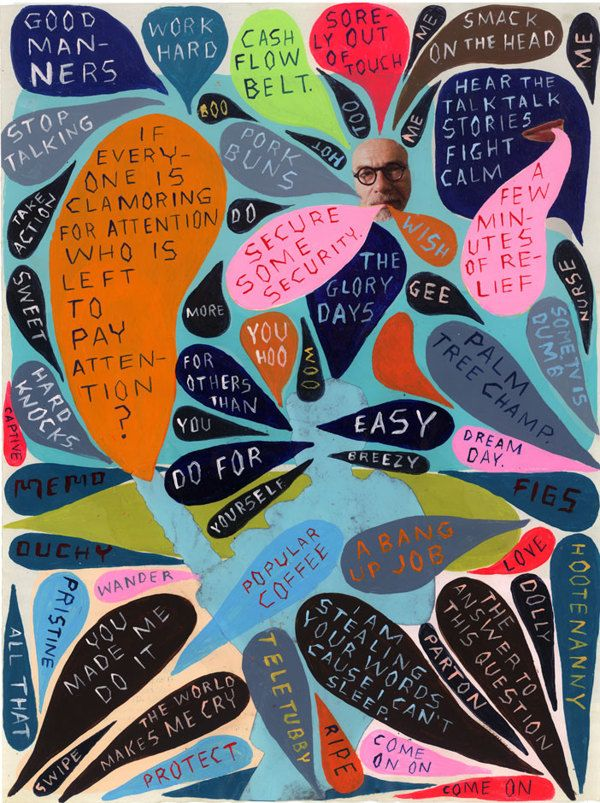 Mind Maps by Martha Rich | I collect words, overheard conversations, advertisements I see, texts I read, and more and curate them into paintings on recycled magazine pages. These are moments of time in my mind. #painting #lettering