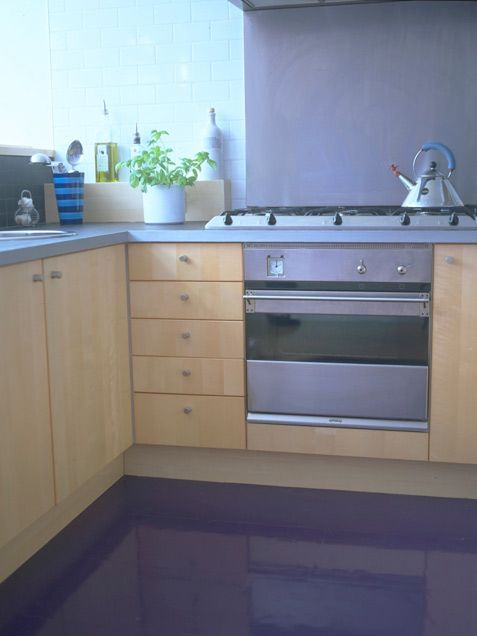 Floor Purple To Give Light Wood Cabinets And A Slate