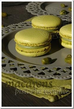 Macarons pistaches vanillés - les meilleures recettes de cuisine d'Ôdélices  http://www.odelices.com/recette/macarons-pistaches-vanilles-r1529