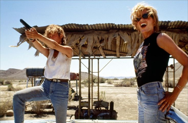 Thelma and Louise.    Thelma: Where'd you learn to shoot like that?  Louise: Texas.