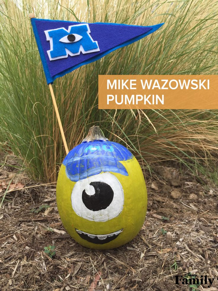 Young Mike Wazowski dreams of being a Scarer. Create this painted pumpkin inspired by his days at Monsters University, and show some school spirit with this easy-to-make felt pennant.