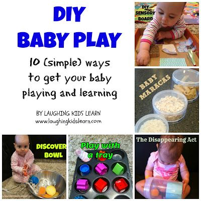 DIY 10 simple baby play ideas to get your little one learning and playing.   Laughing Kids Learn