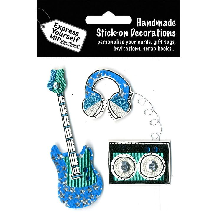 NEW! Express Yourself MIP 3D Stickers-Guitar, Turntable & Headphones