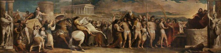 Crowning the Victors at Olympia (3 panels; painting 3 of 6 in the series 'The Progress of Human Knowledge and Culture')  James Barry (1741–1806)