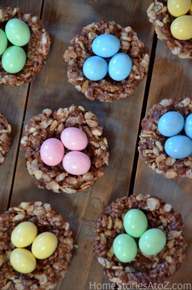 Easter rice krispie treats. Chocolate hazelnut spread rice krispies. So easy and yummy!