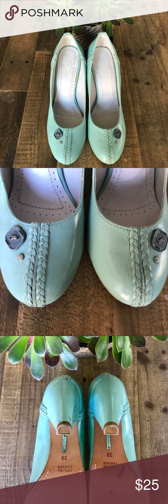 Vintage Diesel Mint Green Leather Button Heels 8 Super unique & cute pin-up style vintage (purchased ~ 20 yrs ago!) Diesel heels in a mint green! Genuine leather w/braided rope detail around the top & buttons on the toes. The shoes have a small kitten heel. Extremely well made. In good used condition with flaws from normal wear (pls see pics). Perfect with a sweet summer dress or skinnies!  Retro, Easter, '50s, party, brunch, spring, summer, birthday, party, dance, feminine, 50s. Diesel…