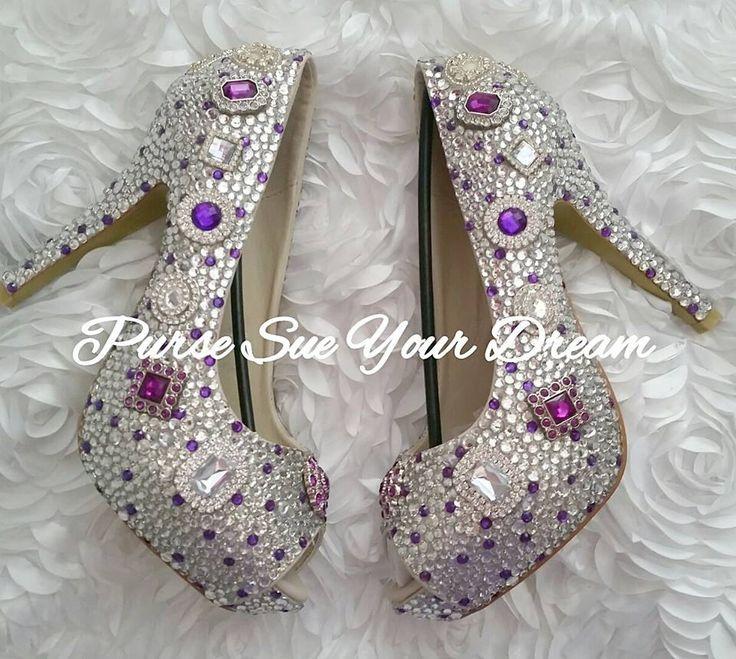 Swarovski Crystal Custom Platform Pumps - Swarovski Crystal Heels - Wedding Shoes - Custom Designed Shoes - Purple Wedding Shoes by PurseSueYourDream on Etsy https://www.etsy.com/listing/510355217/swarovski-crystal-custom-platform-pumps