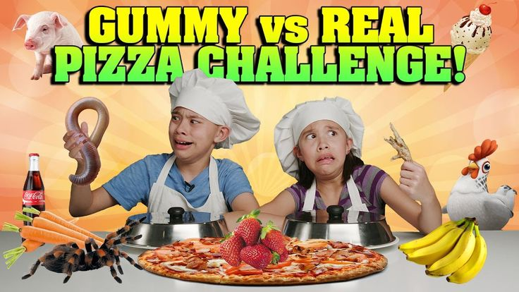 GUMMY VS. REAL: PIZZA CHALLENGE!!! Spiders, Chickens & Worms OH MY! - WATCH VIDEO HERE -> http://philippinesonline.info/trending-video/gummy-vs-real-pizza-challenge-spiders-chickens-worms-oh-my/   Click here to see the GUMMY VS. REAL CHALLENGE: Click here to see the REAL VS. GUMMY Parents Edition: MELTING GIANT GUMMIES:  GIANT GUMMY VIDEOS: World's Largest Gummy Worm vs. Kid: World's Largest Gummy Bear: Giant Gummy Candy Maker:  More Fun Game Challenges!: FAN