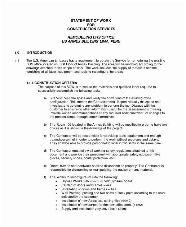 40 Statement Of Work Sample In 2020 Statement Of Work Free Word