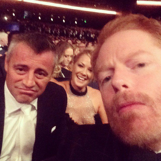 Pin for Later: Go Behind the Scenes With the Stars at the Emmys  Jesse Tyler Ferguson took a selfie with Matt LeBlanc and his girlfriend, Andrea Anders.