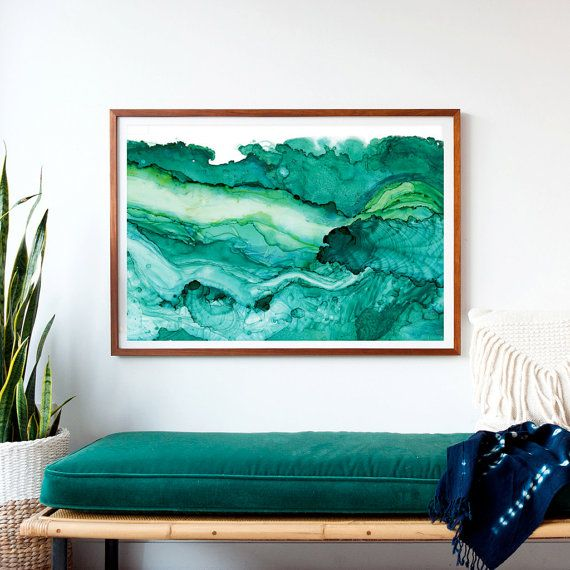 undercurrent emerald ink framed art print ocean art surf watercolor abstract watercolor