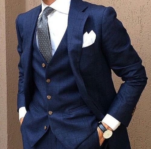 Cool, classic and always right - three piece navy suit and white shirt
