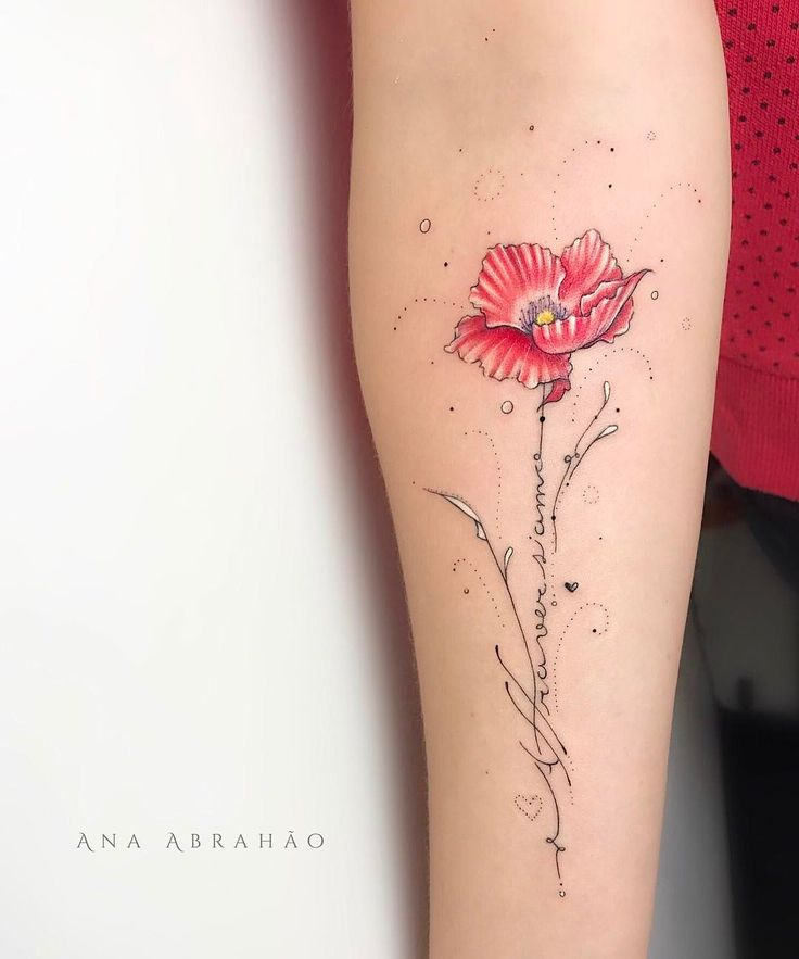 "A T T R A V E R S I A M O. A Poppy Flower! This is my first tattoo in Germany, I made this with a lot of love for dear Biologist Nicole! She chose a poppy flower because the poppy seems like fragil but is really beautiful and inside is very strong. The flower cant survive in a vase with water, this flower need the nature for remain strong and beautiful. She is very special flower and sensible just like Nicole. The word Attraversiamo for Nicole means like ""Lets look forward and move on!""..."