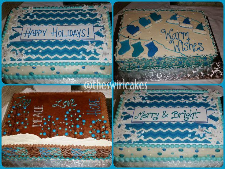 Winter Wonderland Sheet Cakes Teal Blue White Theme