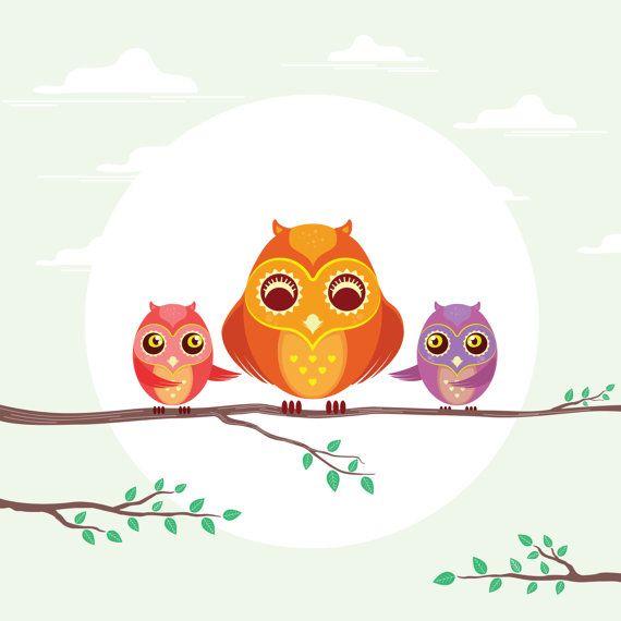 Cute OWLS Clip Art. Digital Owls Clipart. Cute by HQPrintables