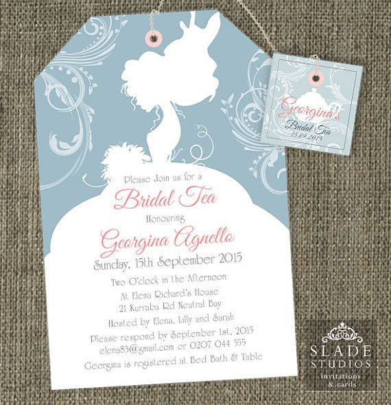 Bride Silhouette Shower Tea invitations. Bridal by SladeStudios, $20.00