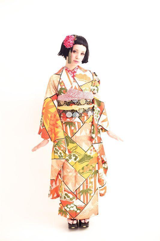ダリヘアデザイン成人式レンタルお着物。アンティーク竹のお着物。の画像   ダリヘアデザイン 高島の靭公園から徒然と