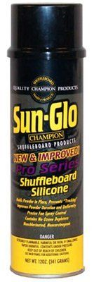 Sun Glo Shuffleboard Silicone Spray Pro Series - 12oz by Sun. $18.99. The Sun Glo Silicone Spray acts as an assistant to the shuffleboard powder. A light coat helps eliminate tracking, saves on powder and adds a punch of excitement to the game. This spray is specifically designed for shuffleboard tables. It's a must have for any player! This Sun Glo Shuffleboard Silicone product also features: