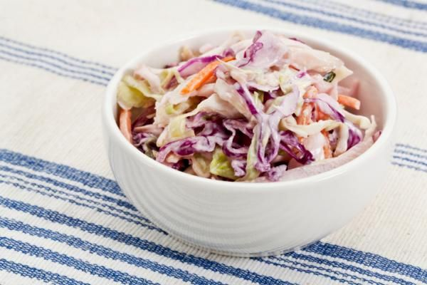 Creamy No-Mayo Coleslaw 12 oz green cabbage, finely shredded 12 oz red cabbage, finely shredded  2 carrots, coarsely shredded 1/2 c chopped scallions 3/4 c low fat plain yogurt 2 Tbsp chopped fresh chives 1 Tbsp cider vinegar 2 tsp pickle relish 1 tsp honey 1/4 tsp Dijon mustard 1/4 tsp dill, celery or caraway seeds 1/4 tsp ground black pepper