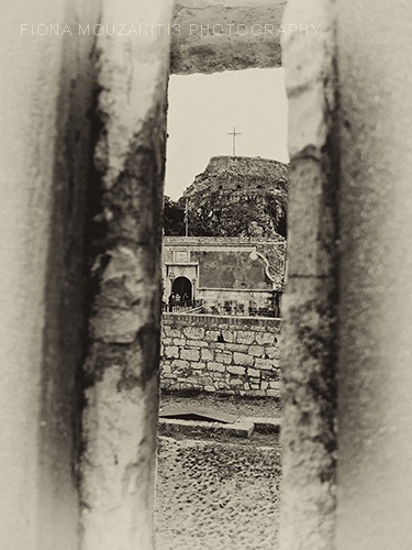 LOOKING IN. The old fort from an opening in the main wall. Corfu Greece