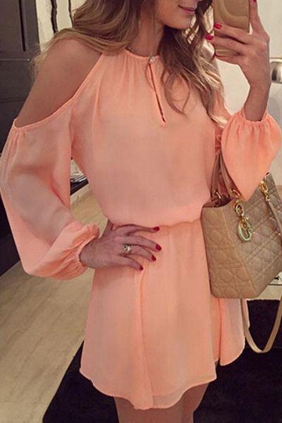 Off-The-Shoulder Pink Chiffon Dress PINK: Chiffon Dresses | ZAFUL