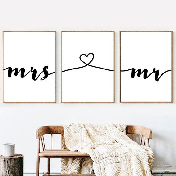 Mr Mrs Love Prints Wedding Sign Printable Bedroom Art Etsy Family Wall Art Printable Art Bedroom Wall Art Quotes