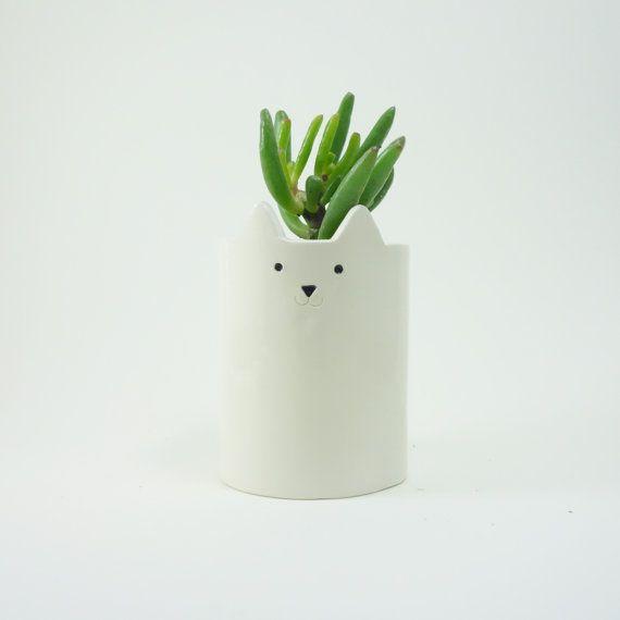 Cat Plant Pot, Ceramic White Cat, Pen Holder or Planter