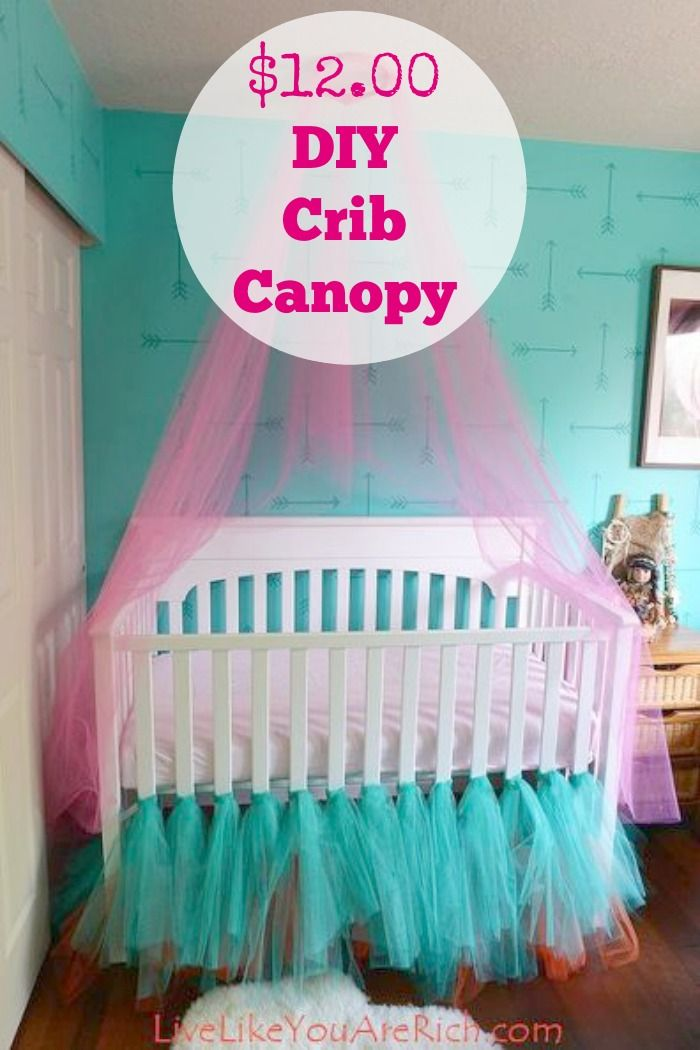 Crib canopies are beautiful but can be expensive ~ this one is made out of tulle and the cost was only $12.00.